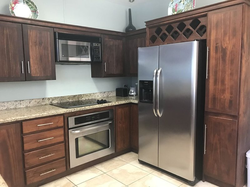 Kitchen with large fridge, stovetop, oven, microwave