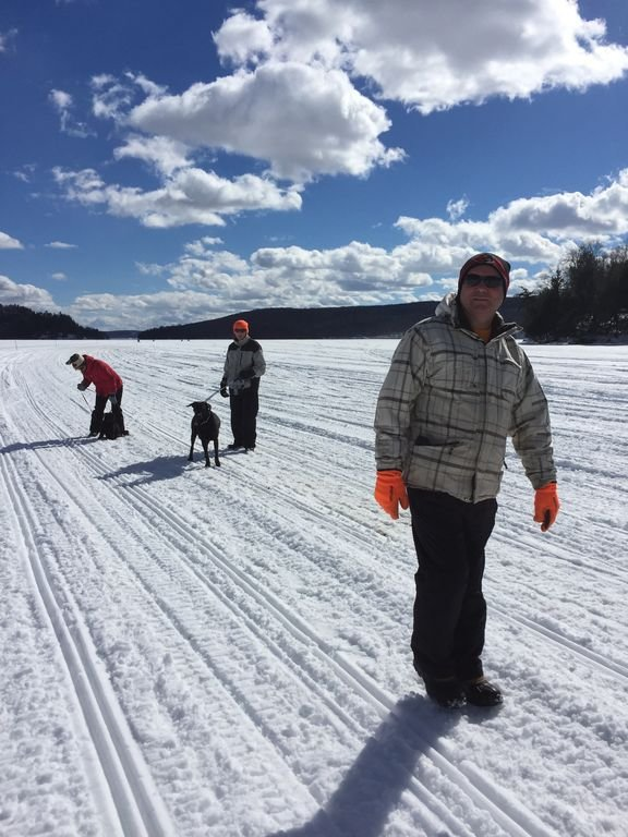 Winter walk on the lake