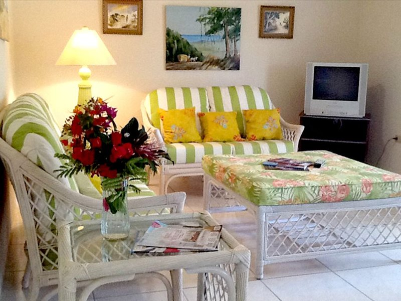 Comfortable, self-catering flat set amid a tropical garden w/ ocean view, location de vacances à Saint-James