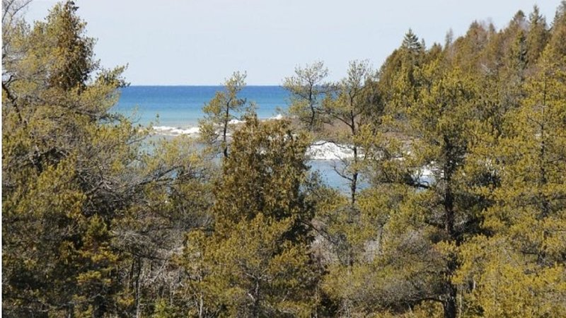 view of Lake Huron from upstairs balcony leading from master bedroom.