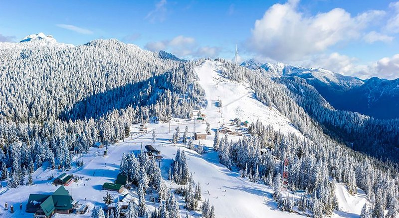 Ski hill at Grouse Mountain, 5 minute drive away