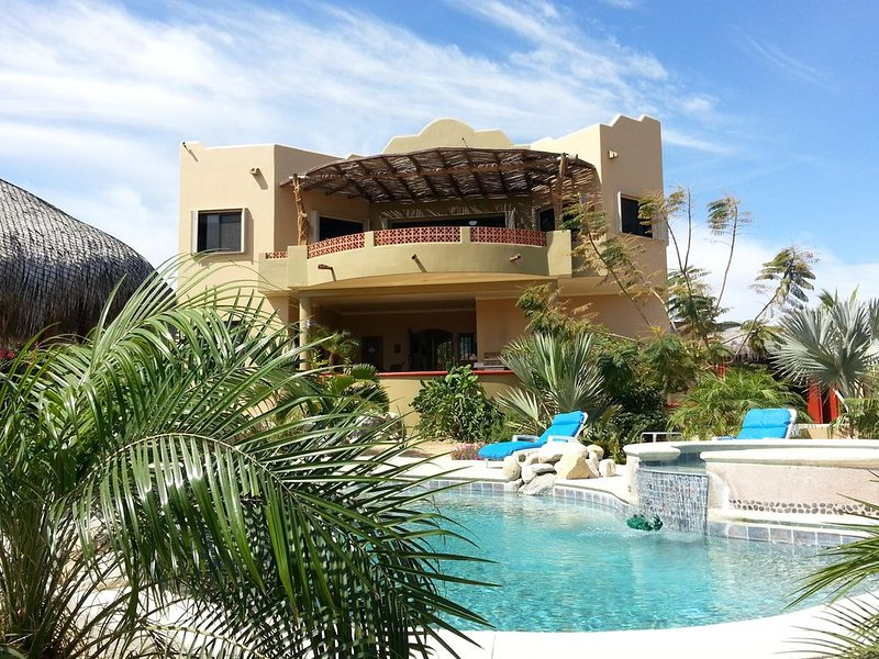 Casa Rear View.  Lower level guest accommodations overlook pool and palapa.