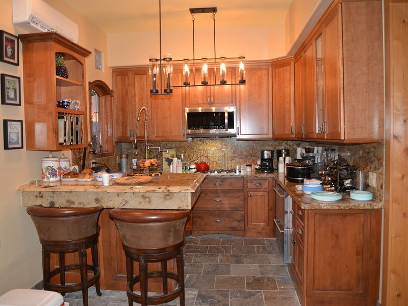 Full Kitchen with gas stove top, mico wave, ice maker, Ref, freezer, Expresso-co