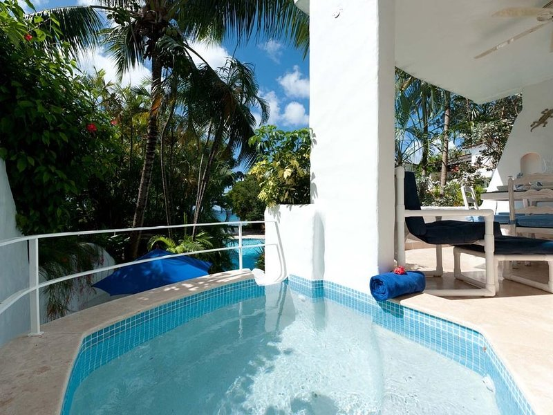 Private Rooftop Deck Villa with Spa Pool on Beach - Gingerbread, holiday rental in The Garden