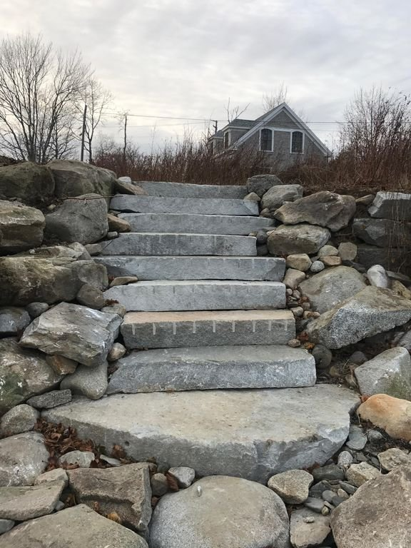 Steps leading to the water.  Located at the NE corner of the property.