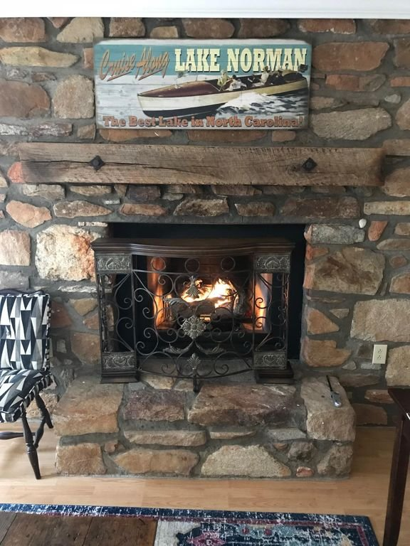 Gas fireplace gives that lodge feel in the cooler months