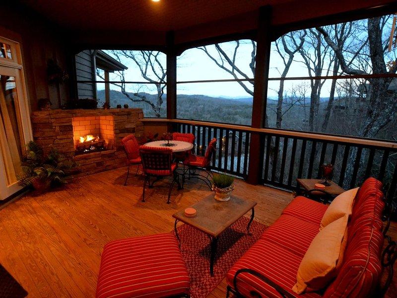 Views from screened porch at dusk.