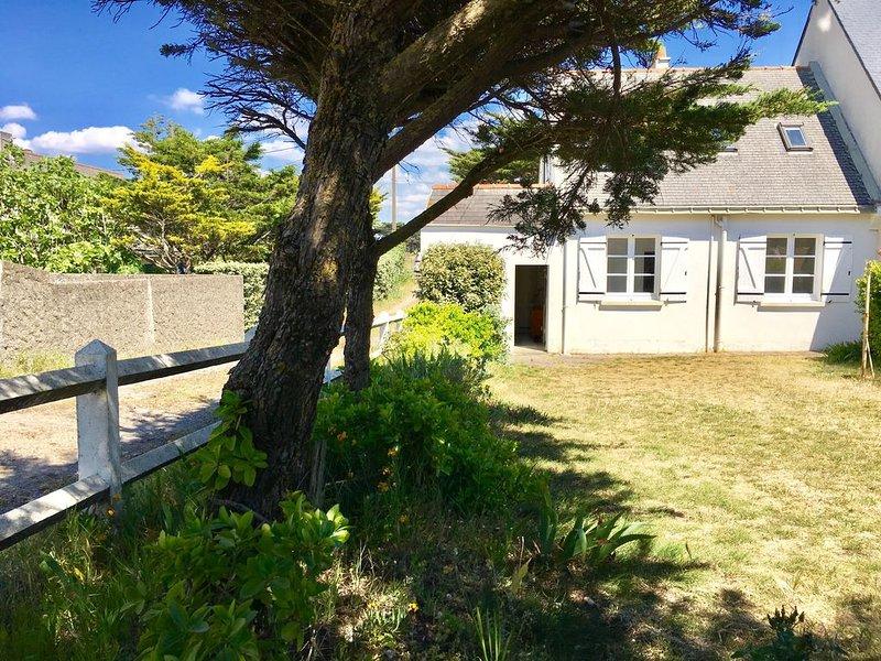 Appartement avec jardin fermé, plage Valentin à Batz sur mer 2ème ligne, location de vacances à Batz-sur-Mer