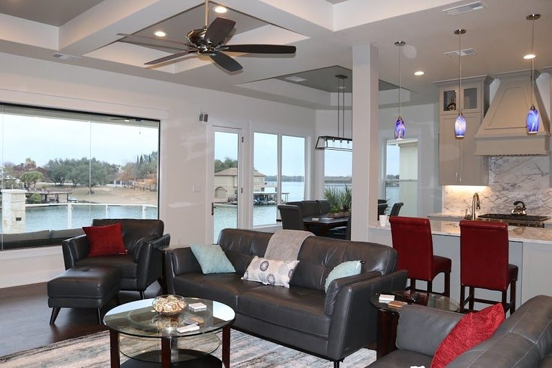 Open living Area and Lake View, with deck