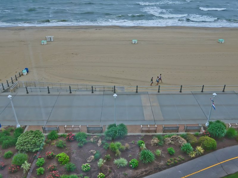 View Down from Condo onto Boarkwalk and Beach and Ocean