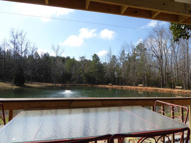 Tiny house on the water. Dish TV, Pool, Fishing pond, Game room, and lots more!, location de vacances à Spartanburg
