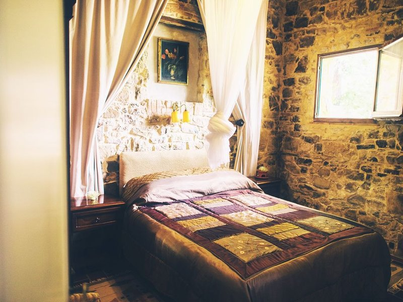 Beautiful 1-bedroom cottage with garden and views over olive groves, pool, vacation rental in Castellina In Chianti