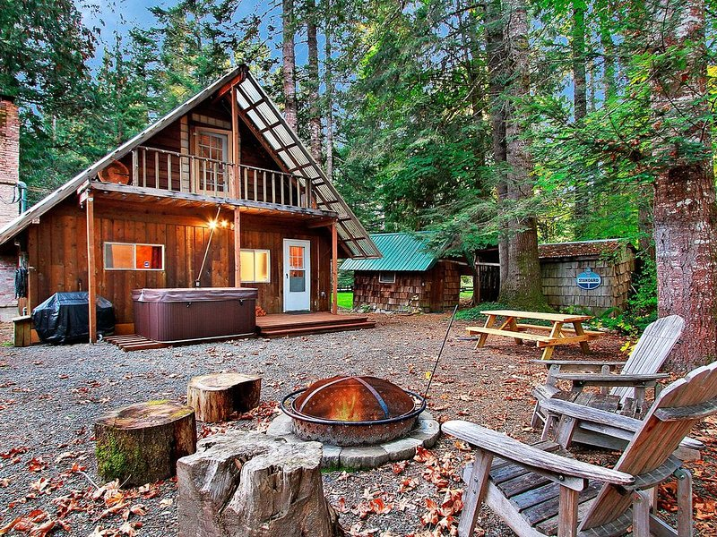 Practice SOCIAL DISTANCING in this cozy updated cabin. WiFi, hot tub & fireplace, holiday rental in Packwood