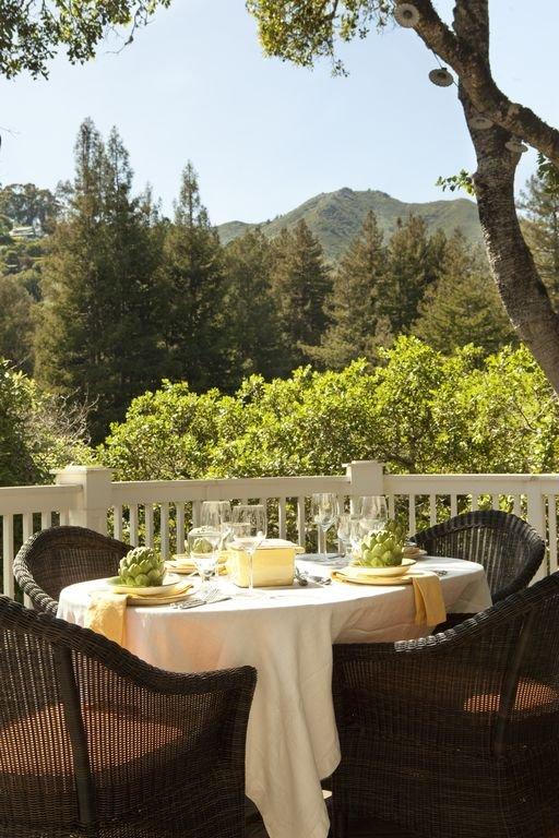 Enjoy Alfresco Dining on the sunny deck with views of Mount Tamalpais