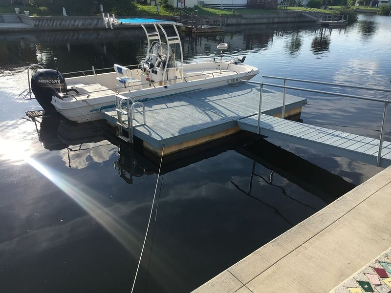 Private floating dock with ladder