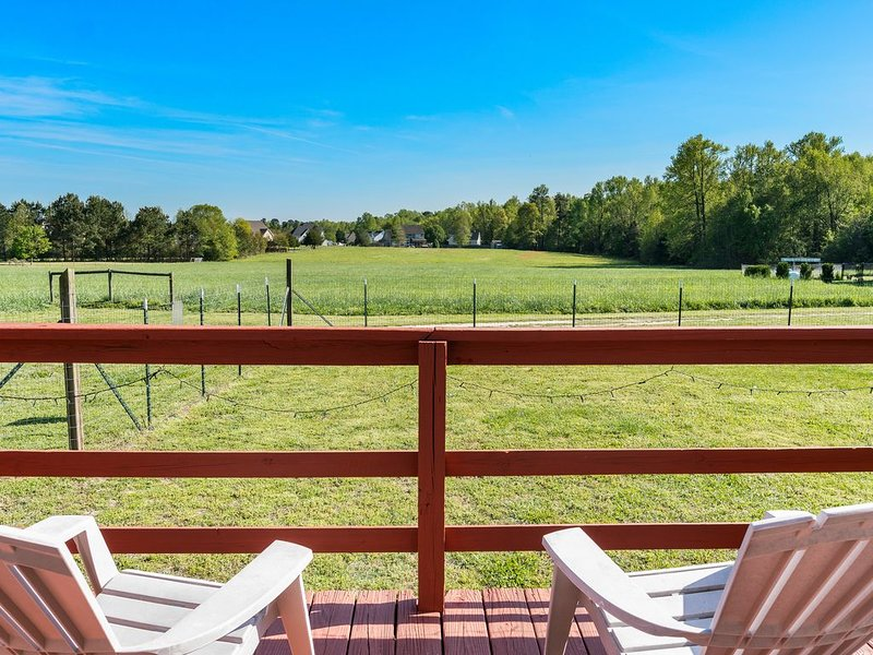 Enjoy coffee or a cocktail on the deck with a wonderful view of  the farm.