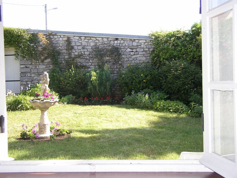 View of the walled garden from the dining room