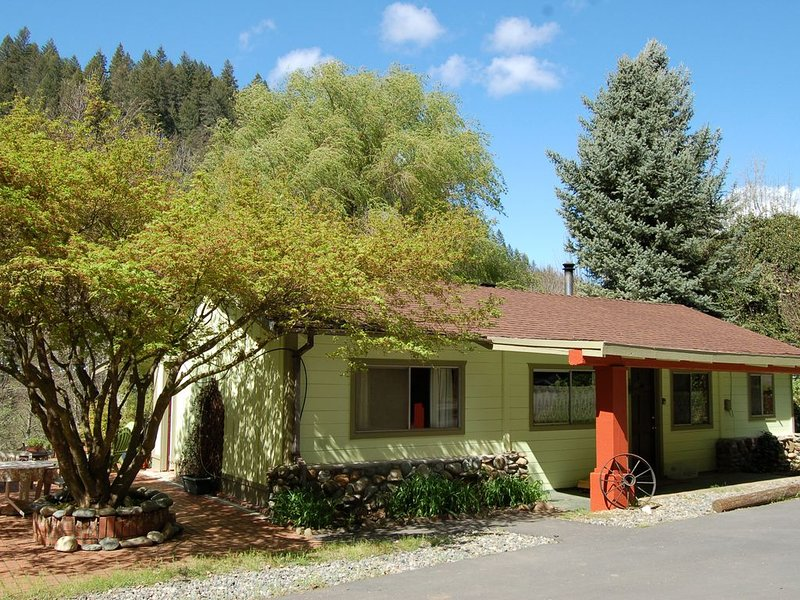 Cozy, Fully Appointed Riverfront Cabin on the Trinity River.  Woodstove! Dogs OK, holiday rental in Lewiston