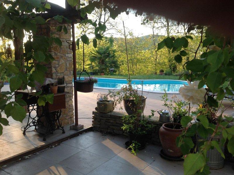 Maison ancienne de caractère, terrasse,piscine, jardin,garage,pas de vis à vis., alquiler vacacional en Aigues-Vives