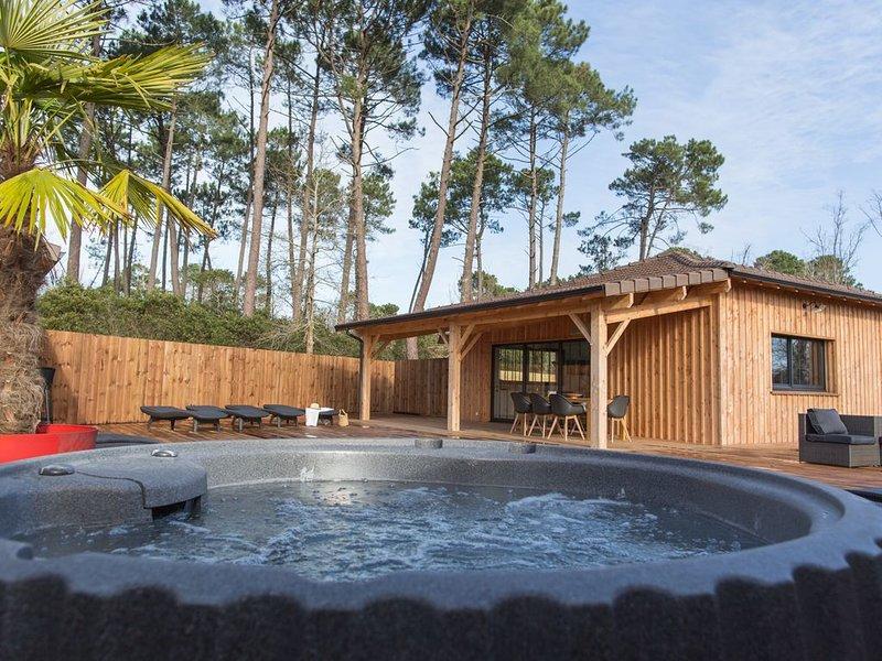 VILLA DU BASSIN superbe, neuve, piscine 30° spa 38° et terrasse bois de 300 m, location de vacances à Claouey