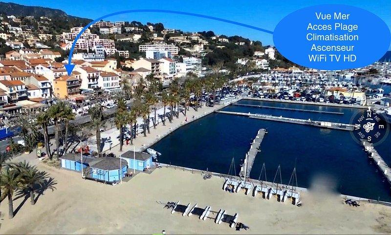 Superbe T3 centre ville, en première ligne mer , climatisé vue port et mer!, alquiler vacacional en Le Lavandou