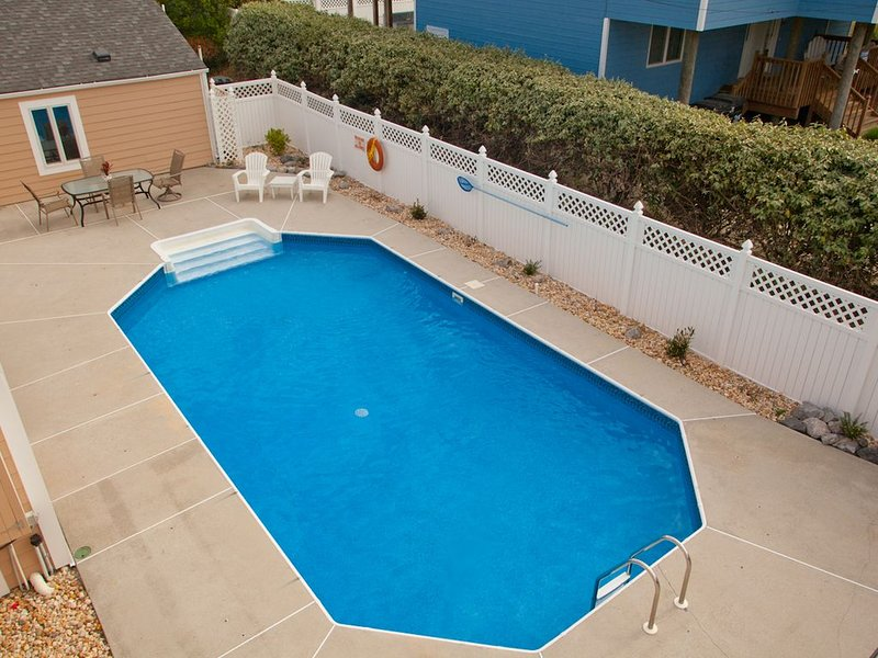 Solar Heated Pool, Outside Living Space with 2 Patio Tables, 15 Chairs, 4 Stools