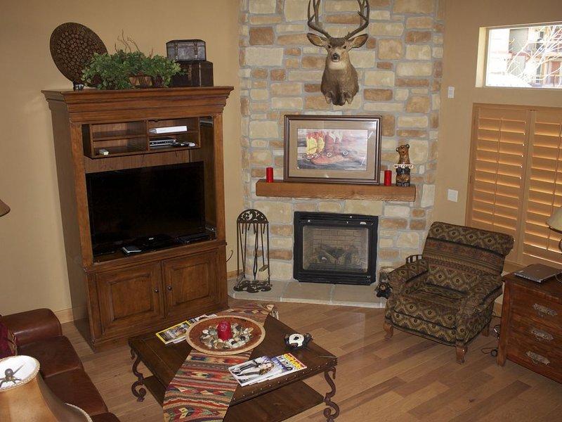 Living room with new hard wood floors