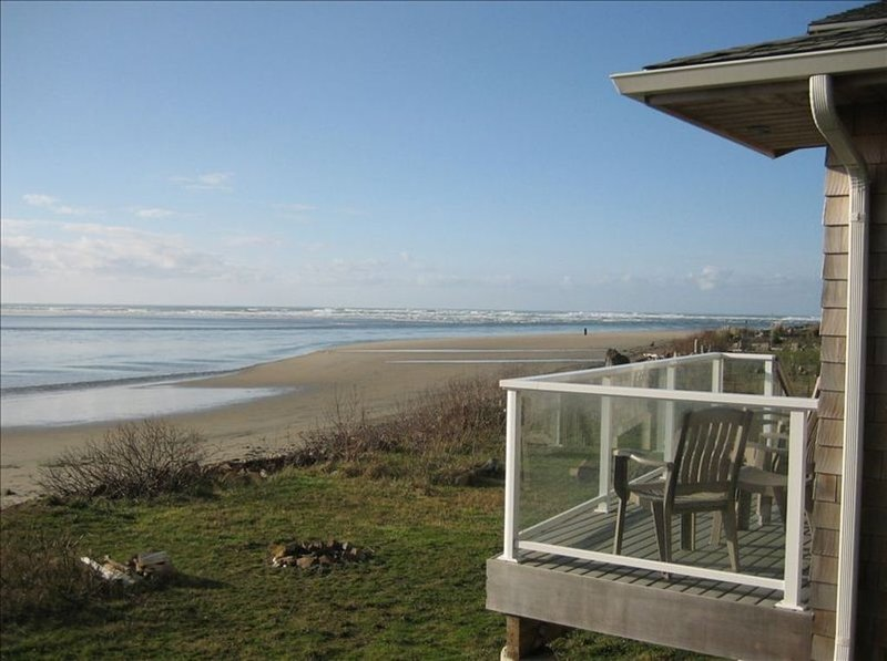 This is our home, deck, backyard, and stunning unobstructed beachfront views