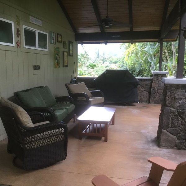Lanai area with private seating and grill