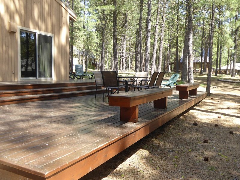 Deck and part of back yard.  Our house sits on 2 lots, giving you ample room.