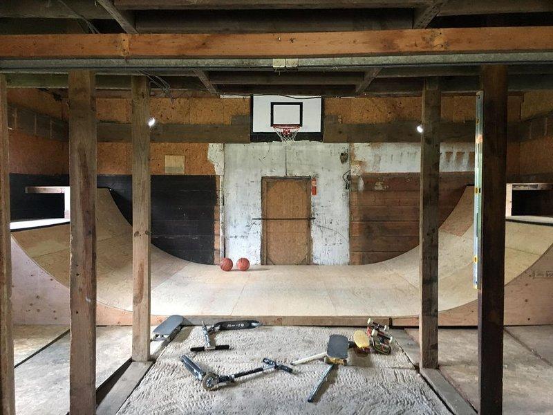 Half-pipe and basketball hoop