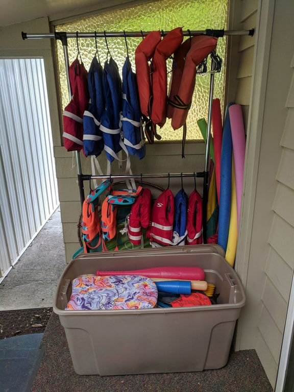 Some life jackets and floaties are available.