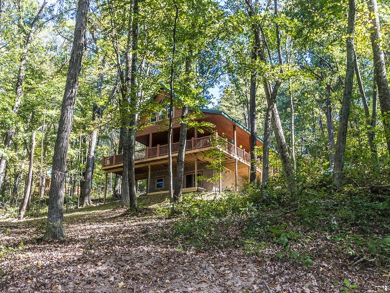 Hocking Hills Luxury Cabin! 95 acres, game room, fire pit, full kitchen, wifi, holiday rental in Logan