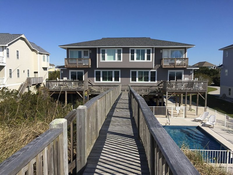 AMAZING VIEWS!! Beachfront Duplex (East) at the Point with a private POOL!, holiday rental in Cedar Point