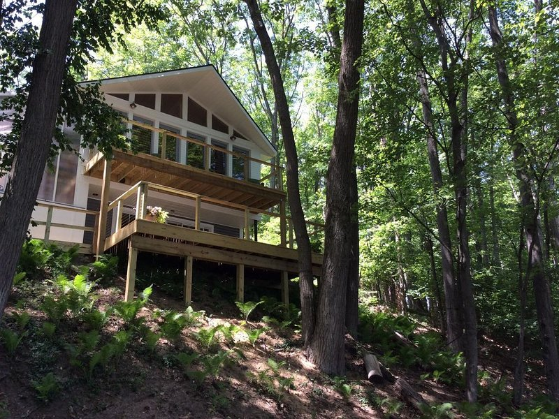 Newly renovated lake house, fenced in home on Duck Lake, pontoon, pet friendly, holiday rental in Grawn