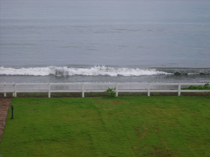A view of our child-friendly beach and surf before landscaping added to the yard