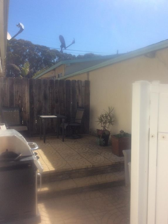 Back patio with gas barbecue