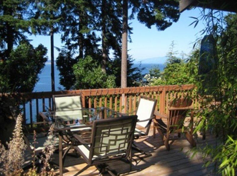 Grande terrasse avec des sièges (table et chaises ainsi que des sacs à dos)
