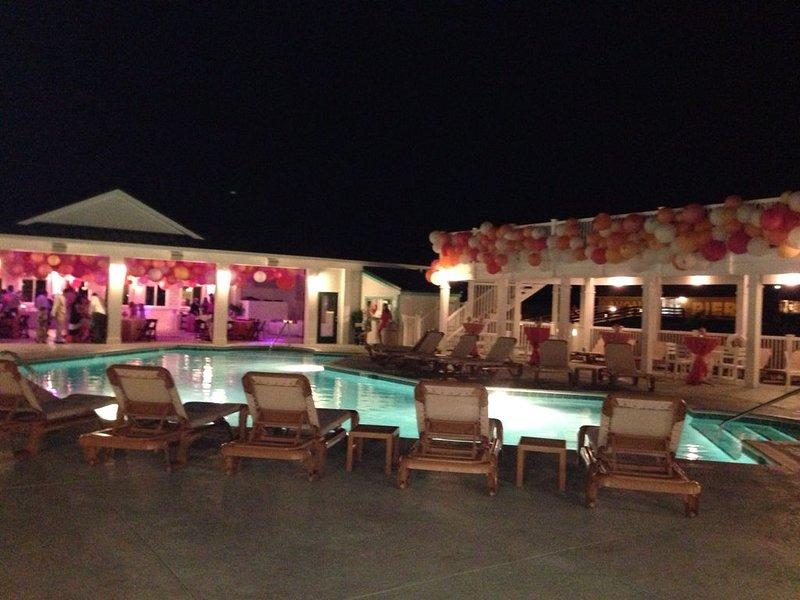 Evening wedding reception at the Koru Village Beach Klub which is by Avon Pier.