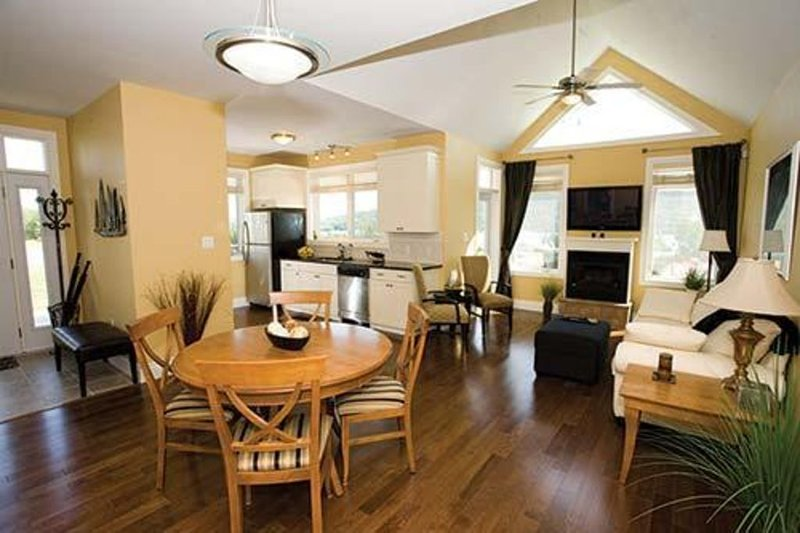 Kitchen and open concept living room/dining room