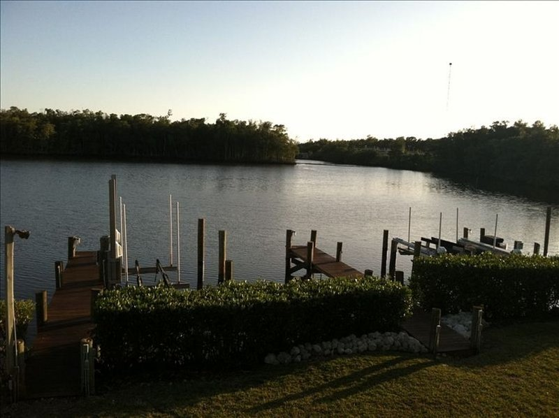 view of our dock from the lanai