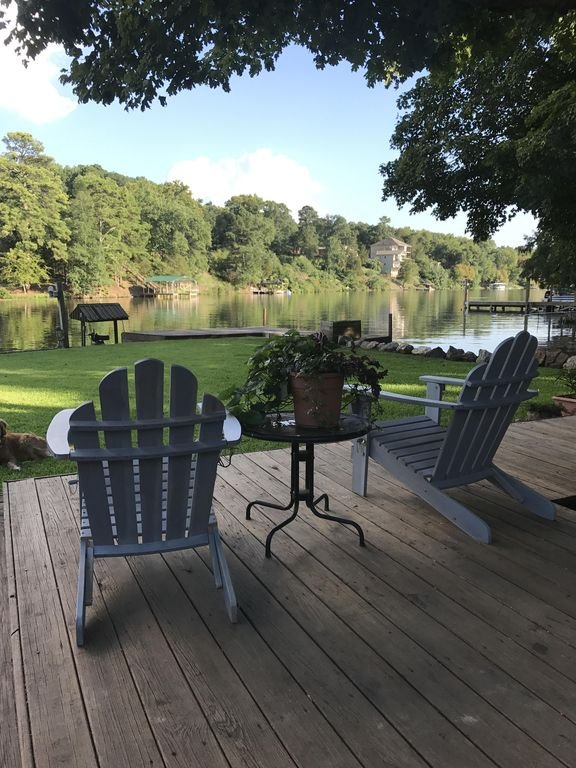 Beautiful lakefront views from our back deck.