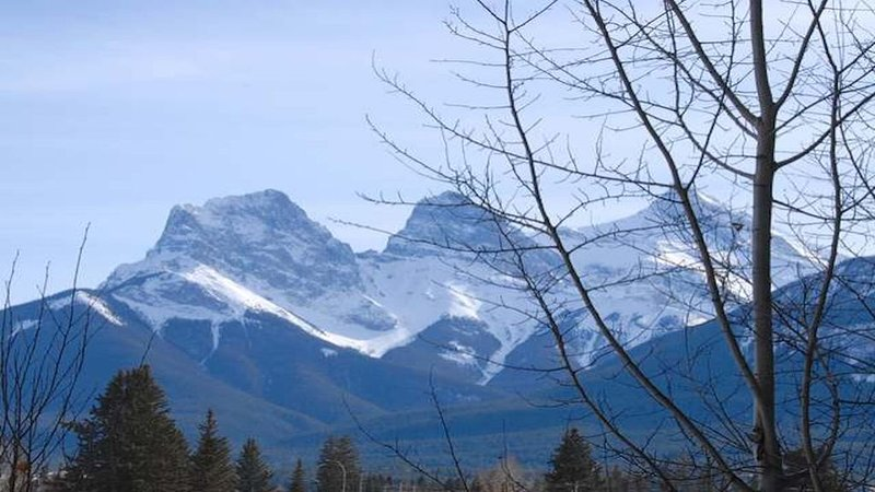 View of famous Three Sisters mountain range from bedroom