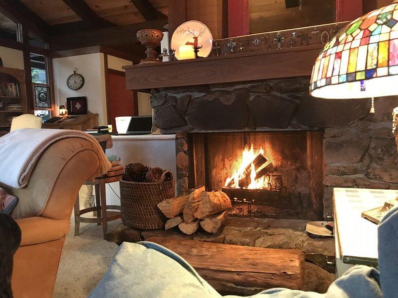 Natural Stone Wood Burning Fireplace