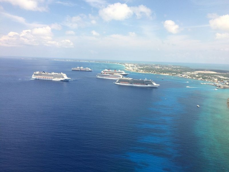 View of Georgetown Harbor--about to land in Grand Cayman