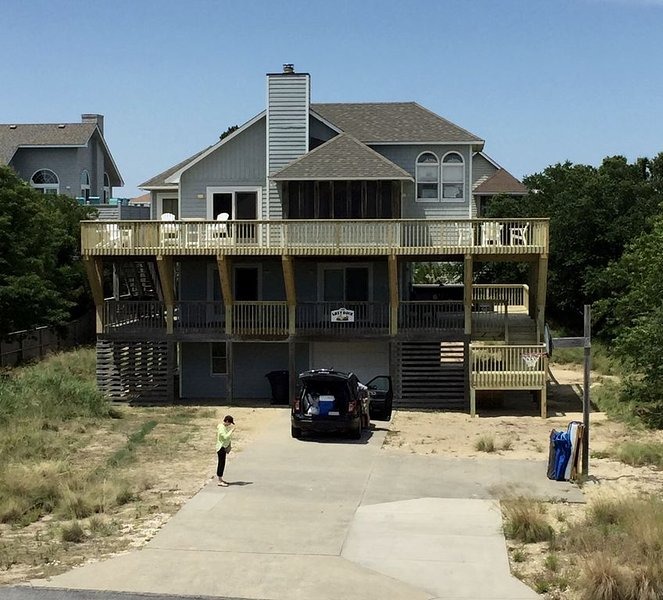 Lots of outdoor living space on extended decks