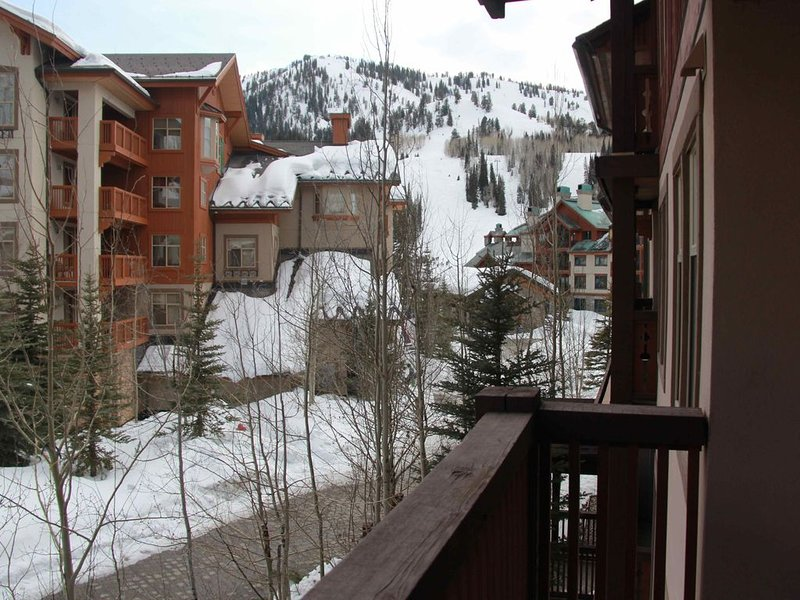 On the slopes ski in/out 2 bed 2 bath Corner Unit Large Windows washer/dryer, holiday rental in Solitude