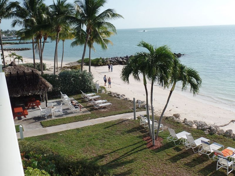 OPEN 2/27 to 3/6--1st FL, no stairs, private beach, heated pool, palm trees, holiday rental in Key Colony Beach