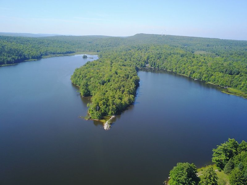 Cabin is in center of six acre tip of this peninsula