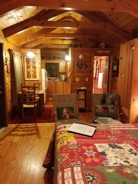 Ein gut gestalteter offener Raum bietet Schlaf-, Ess- und Aufenthaltsbereiche.